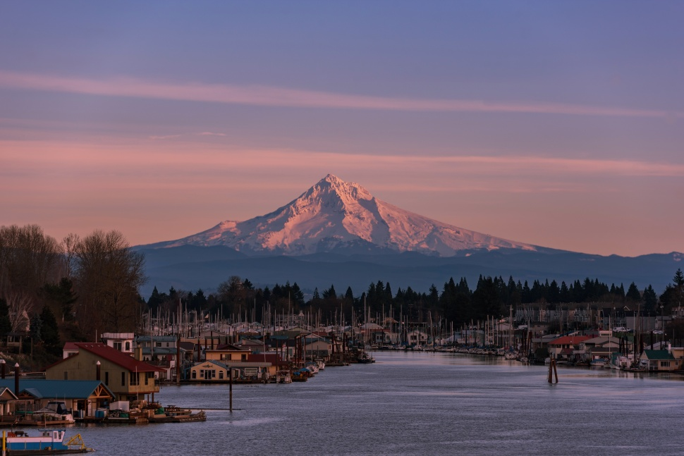 Mt Hood over Columbia River